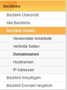 XOVI Backlinks Modul Menu