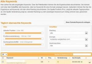 XOVI Monitoring Modul - Alle keywords anzeigen lassen