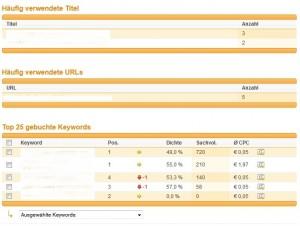 XOVI SEM Modul - Anzeigen analyiseren
