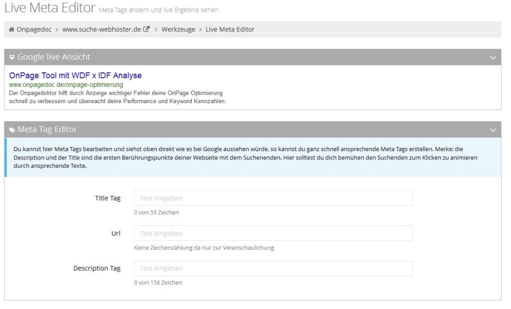 onpagedoc meta tag live meta editor