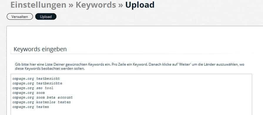 onpage org zoom keywords upload