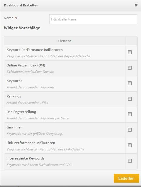 xovi dashboard erstellen