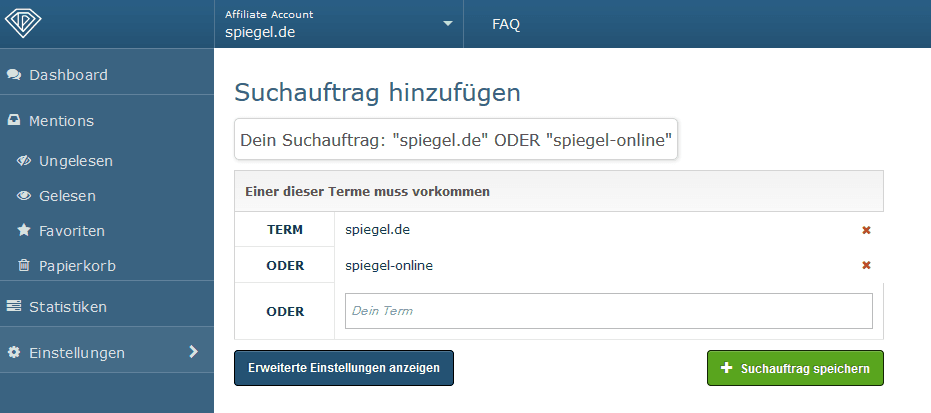 OnPage.org Mentions Suchterme definieren