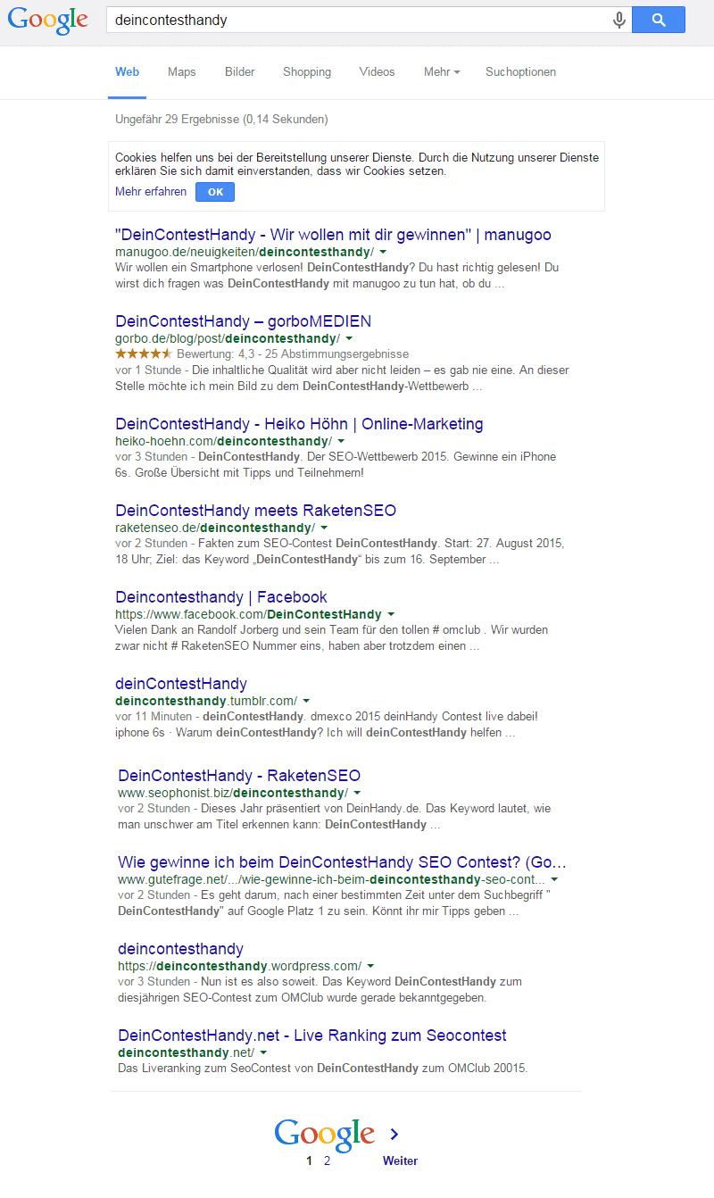Google Ranking um 21 Uhr