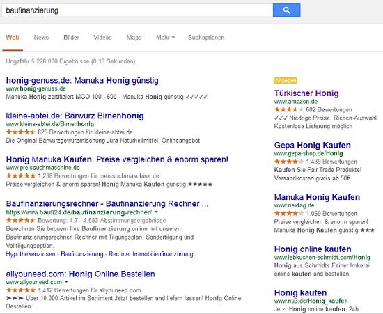 SERPs Google Anzeigen