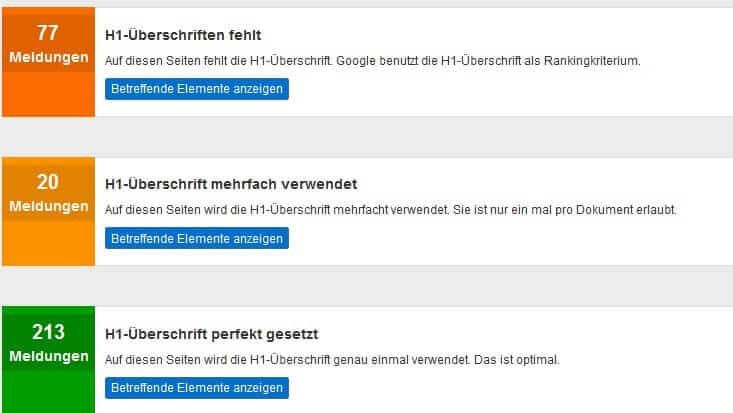 Pagerangers H1 Überschrift Analyse by seo-tech.de