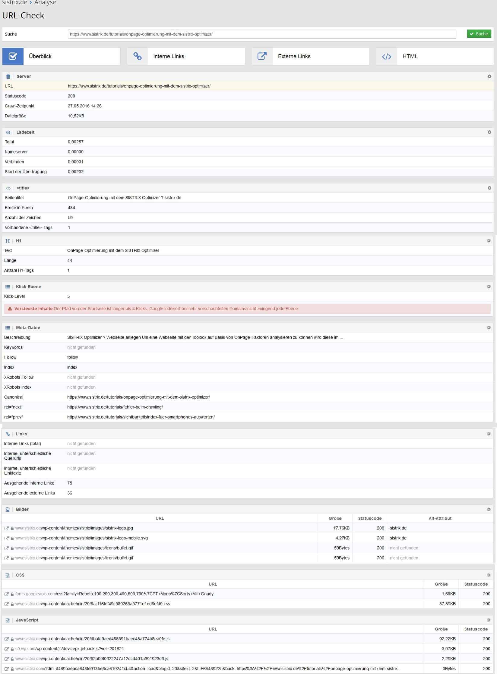 Sistrix URL-Check by seo-tech.de