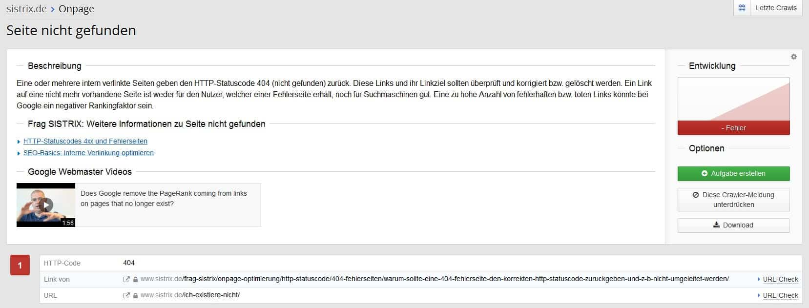 Sistrix Onpage Fehler Analyse Detail by seo-tech.de