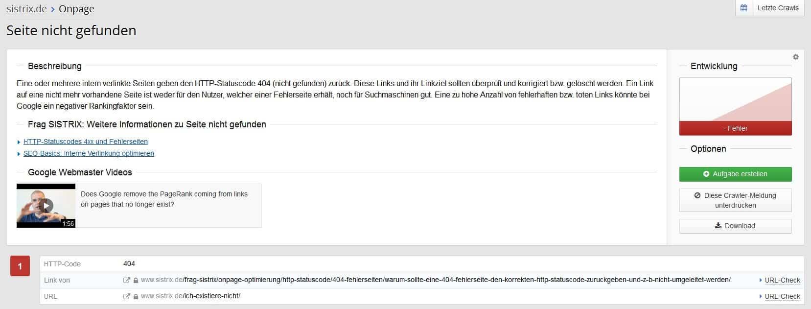 Sistrix Onpage Fehler Analyse Detail by seo-tech.de