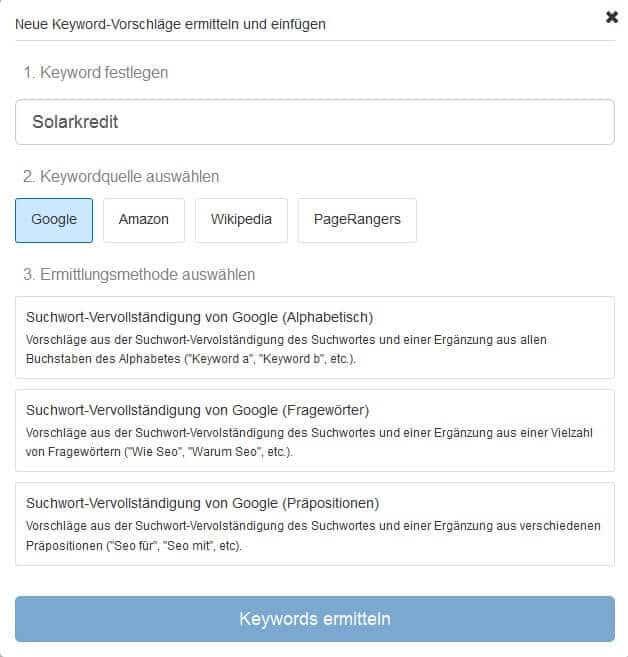 Keyword Recherche Keyword festlegen