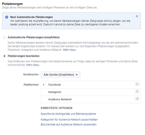 Facebook Ads Platzierungen
