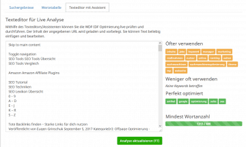 seobility wdf idf editor
