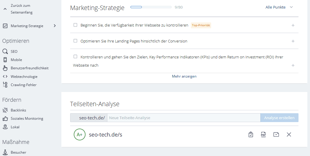 woorank marketing strategie