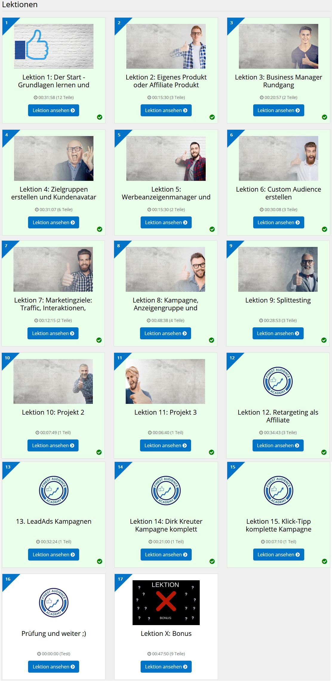 finest academy online kurs uebersicht