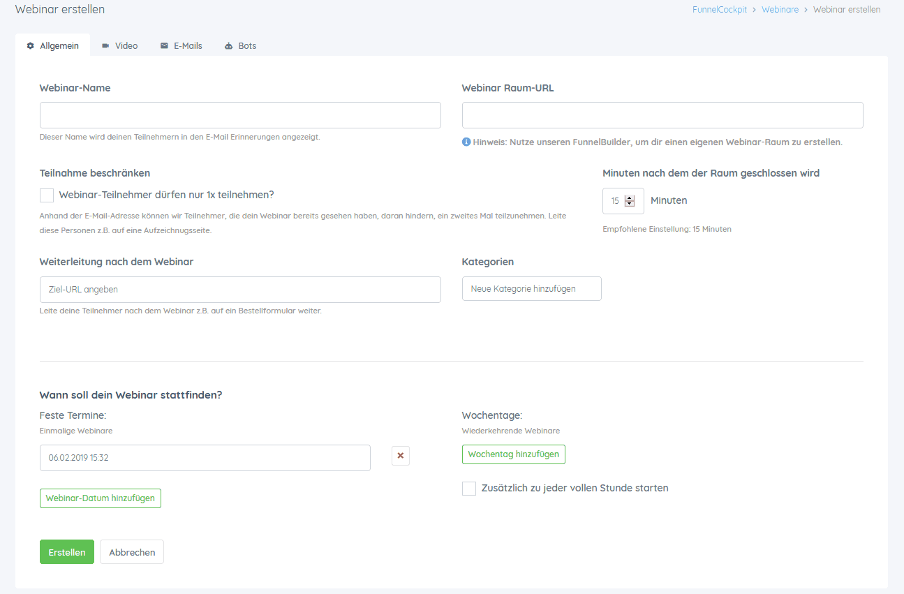 funnelcockpit Webinar erstellen