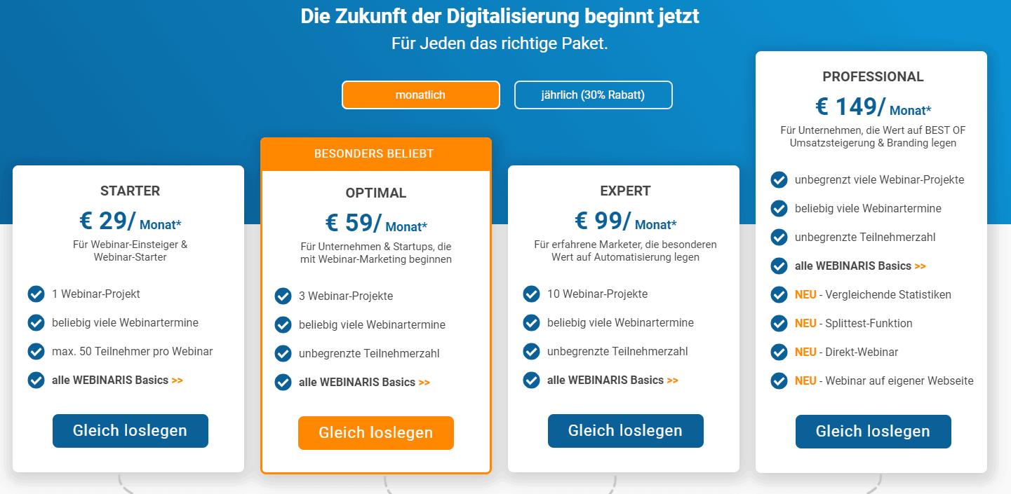 webinaris Preise Kosten