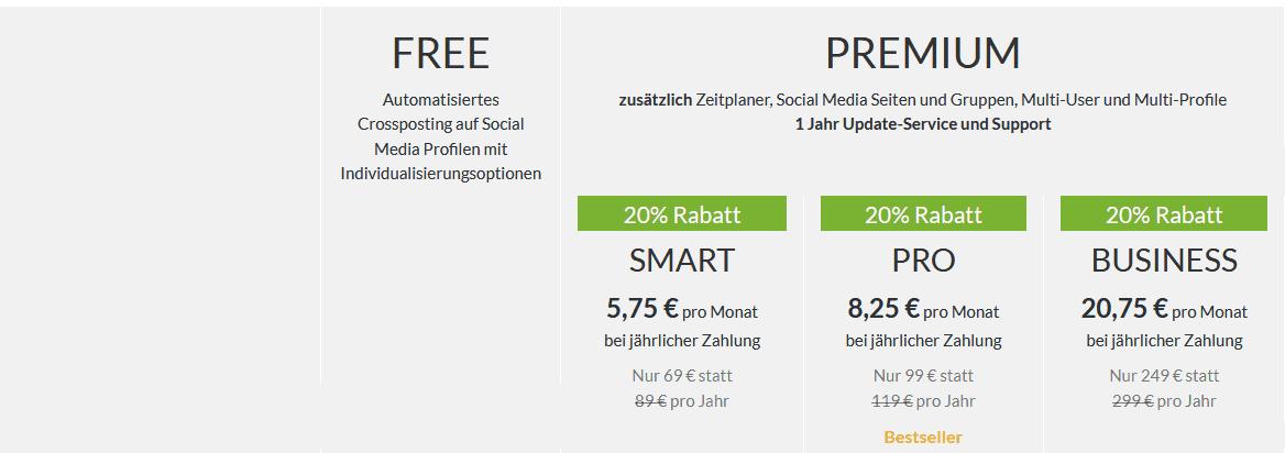 blog2social preise kosten