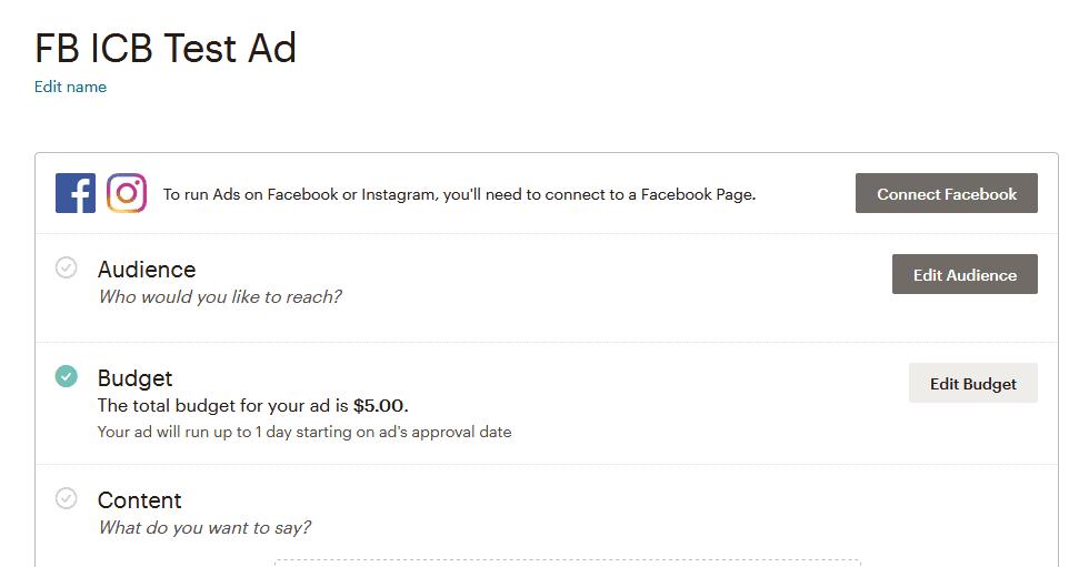 mailchimp facebook ad erstellen