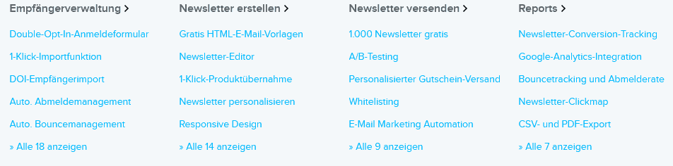 newsletter2go funktionen features