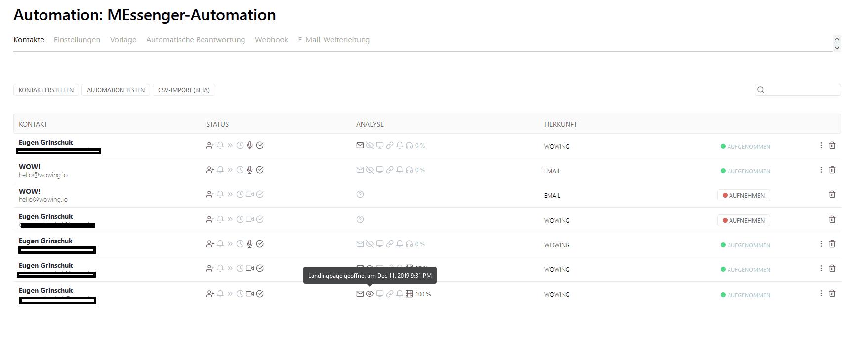automationen kontakte und live tracking