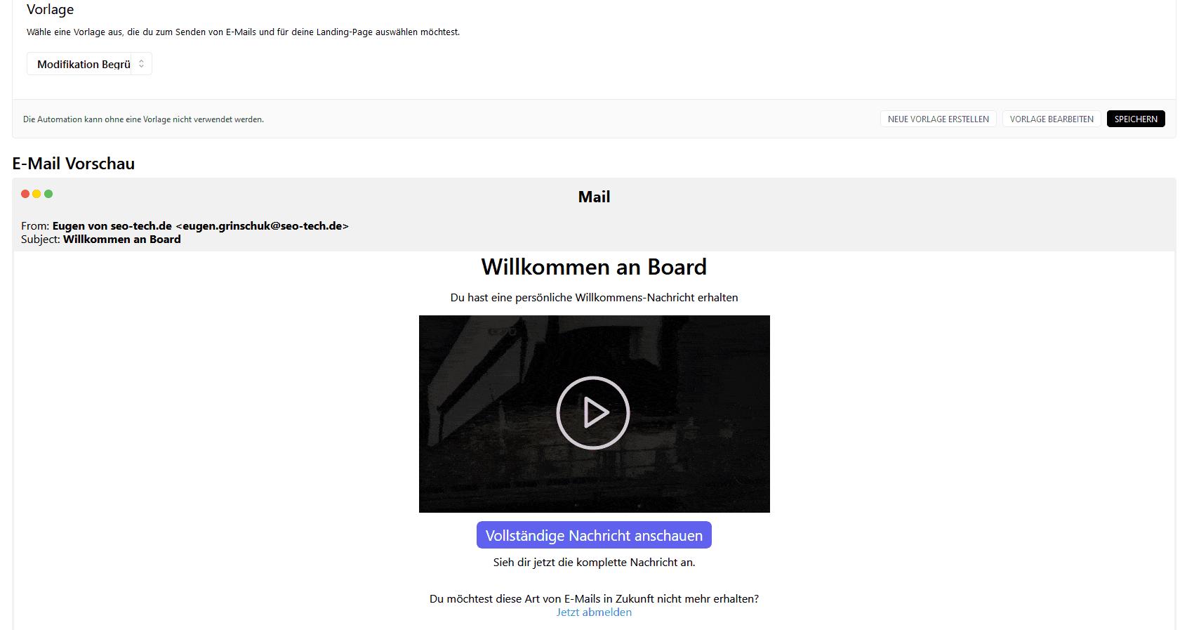 automationen vorlage mail